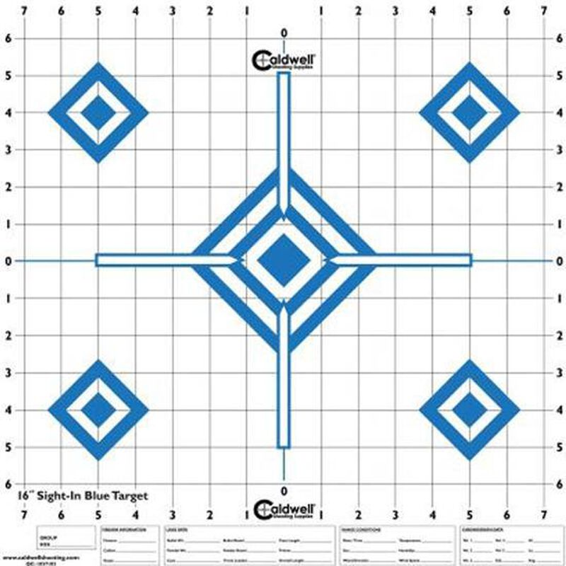 "Caldwell Shooting Supplies High Visibility Sight In Paper Target High Contrast Blue 16""x16"" 10 Pack 198604"