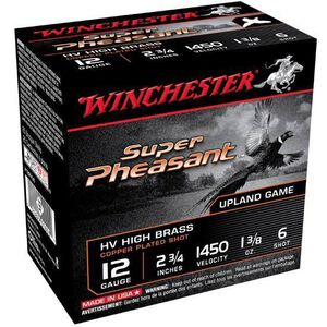 """Winchester Super Pheasant 12 Gauge Ammunition 25 Rounds 2.75"""" #6 Plated Lead 1.375 Ounce X12PHV6"""