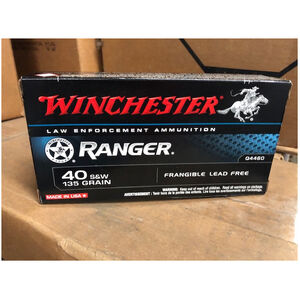Winchester Ranger .40 S&W Ammunition 50 Rounds 135 Grain Centerfire Frangible FMJ Lead Free FLETC Contract Q4460