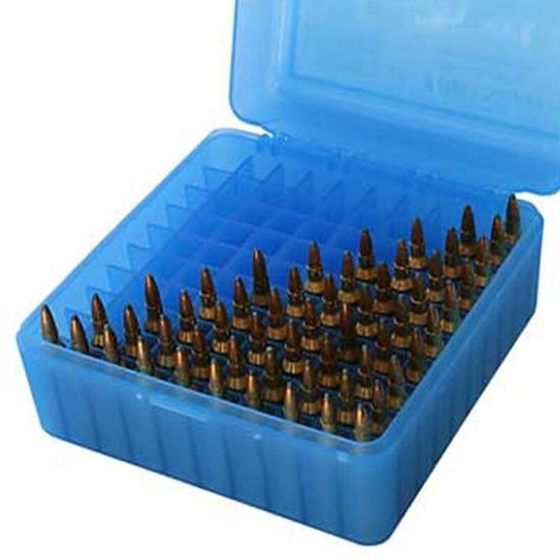 MTM Case-Gard R-100 Series Flip Top Medium Rifle Ammo Box Polymer Clear Blue RM-100-24