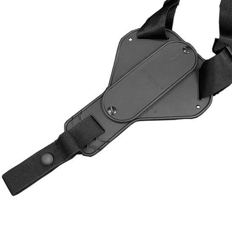 """Uncle Mike's Cross-Harness Horizontal Shoulder Holster Medium and Large Frame Autos 3.25"""" to 3.75"""" Barrels Size 16 Ambidextrous Nylon Black 87160"""