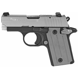 """SIG Sauer P238 .380 ACP Semi Auto Pistol 2.7"""" Barrel 6 Rounds 3 Dot Sights Grey Polymer Grips Alloy Frame Two Tone Finish"""