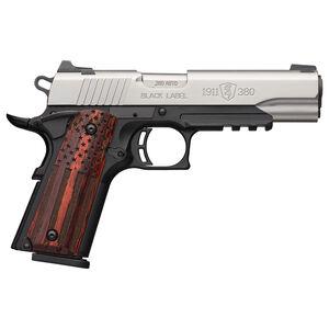 "Browning Black Label Pro American Flag 1911-380 .380 ACP Semi-Auto Pistol 3-5/8"" Barrel 8 Rounds 3-Dot Sights Picatinny Rail Wood Grips Silver/Black Finish"