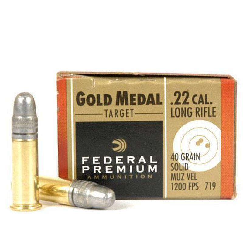Federal Premium Gold Medal HV Match .22 LR Ammunition, 50 Rounds, LRN, 40 Grains