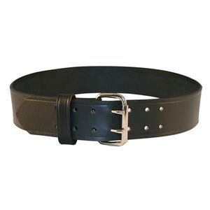 "Boston Leather Explorer Duty Belt 2.25"" Leather Chrome Buckle Size 40 Plain Black 6503-1-40"