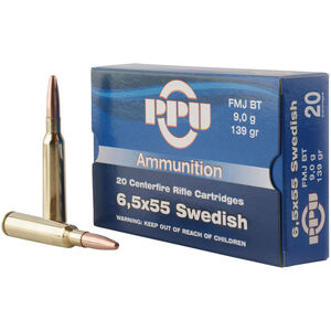 Prvi Partizan PPU Metric 6.5x55 Swedish Ammunition 20 Rounds 139 Grain FMJ BT 2540fps