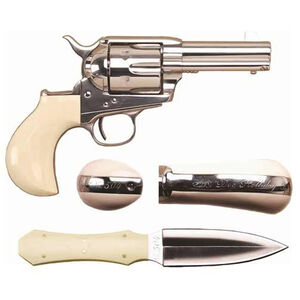 """Cimarron Doc Holliday Thunderer Combo Revolver 45 LC 3.5"""" Barrel 6 Rounds Tru-Ivory Grips Nickel with Dagger and Shoulder Holster"""