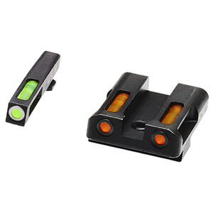 HiViz Litewave H3 Tritium/Litepipe fits GLOCK 9mm/.40S&W/.357SIG Models Green Front Sight with White Front Ring/Orange Rear Sight Steel Housing Matte Black
