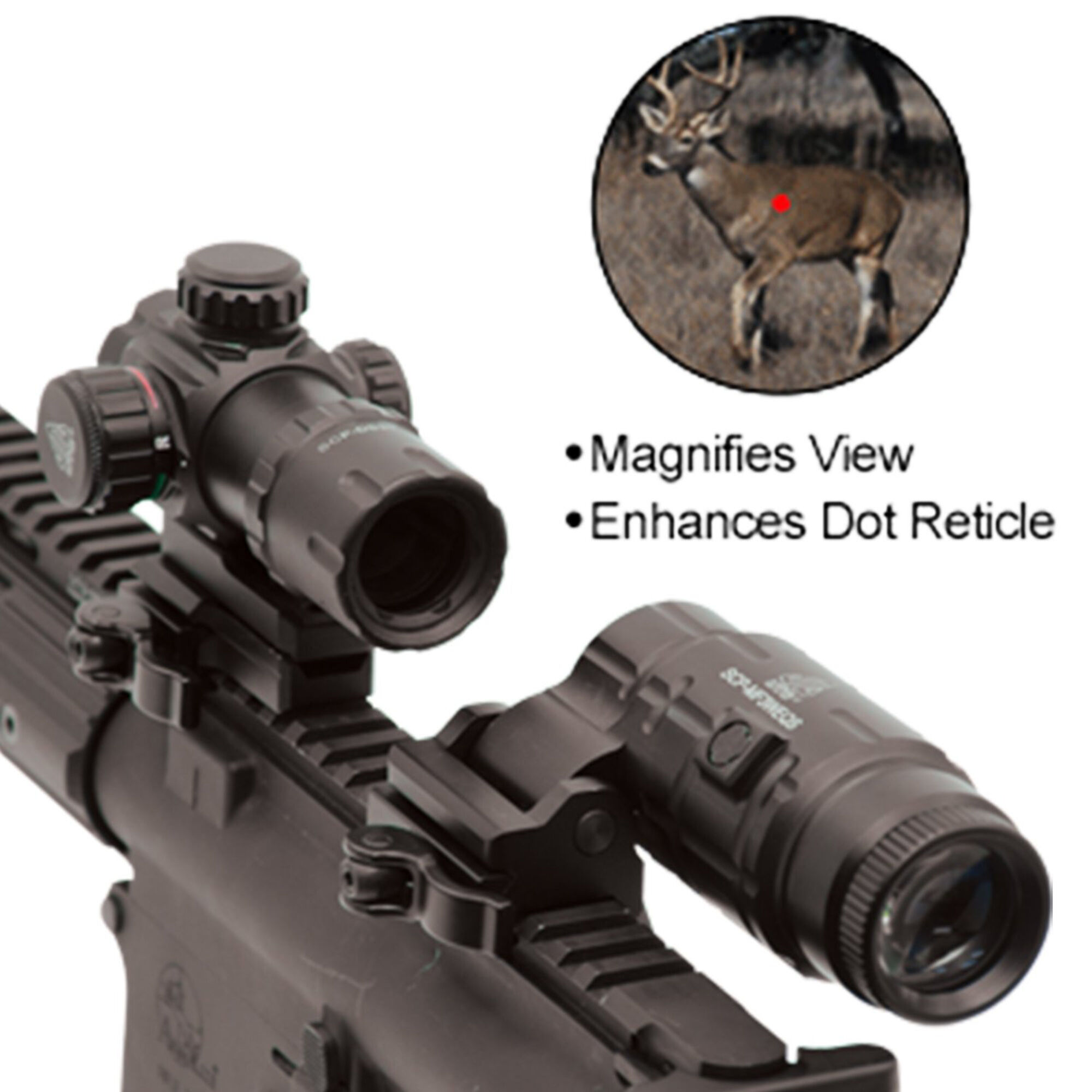 W//E Adjustable SCP-MF3WEQS UTG Leapers 3X Magnifier with Flip-to-side QD Mount