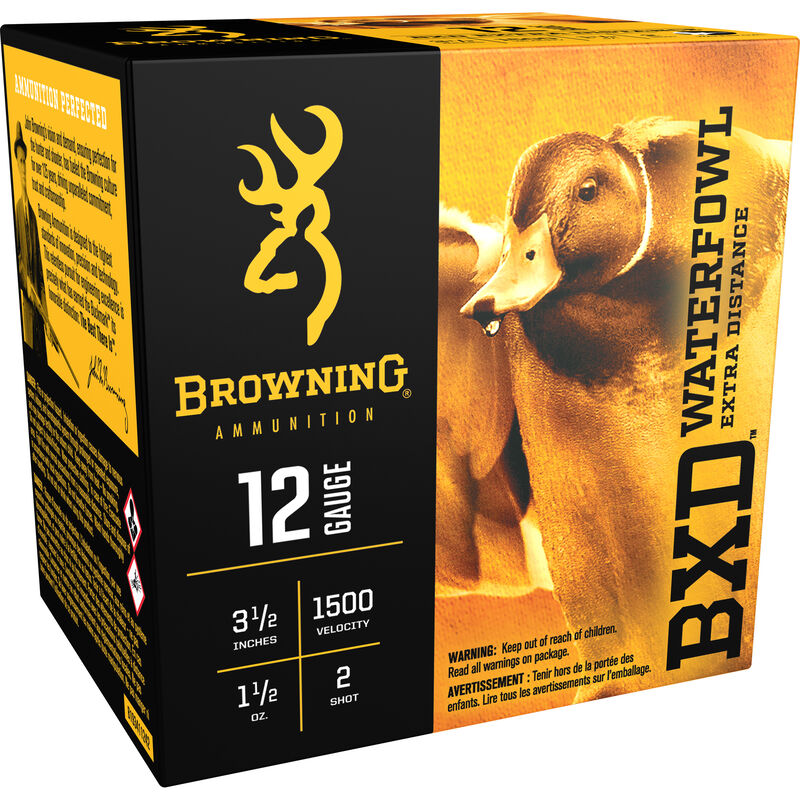 """Browning BXD Waterfowl 12 Gauge Ammunition 250 Rounds 3 1/2"""" #2 Steel 1-1/2 Ounce B193411242"""