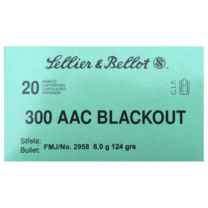 Sellier & Bellot .300 Blackout Ammunition 20 Rounds FMJ 124 Grains SB300BLKA