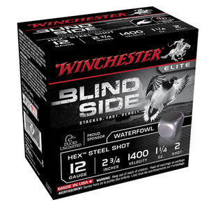 "Winchester Blind Side 12 Gauge Ammunition 25 Rounds, 2.75"", Hex Steel #2"