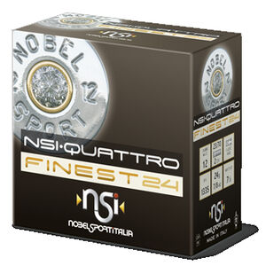 "NobelSport Quattro 12 Gauge Ammunition 25 Rounds 2.75"" #8.5 Lead 7/8 oz ANSDF2485"