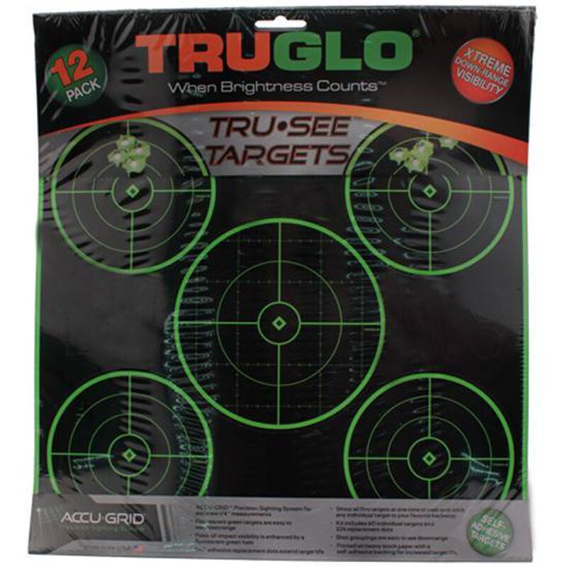 """TRUGLO TruSee 5 Bull's-Eye Targets 12"""" x 12"""" Fluorescent Green 12 Pack TG11A12"""
