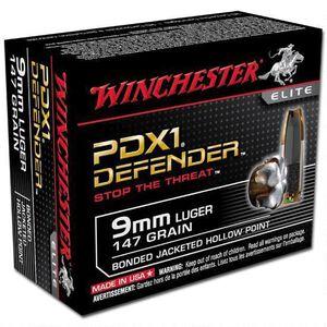 Winchester Defender 9mm Luger Ammunition Bonded JHP 147 Grains