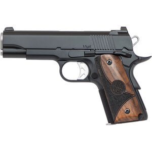 "Dan Wesson 1911 Vigil CCO 9mm Luger Semi Auto Pistol 4.25"" Barrel 8 Rounds Fixed Front Night Sight/Tactical Rear Sight Wood Grips Forged Aluminum Frame Matte Black"