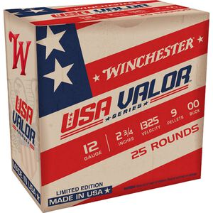 "Winchester USA Valor 12 Gauge Shotshell 25 Rounds 2 3/4"" 00 Buck 9 Pellets USA1200VP"
