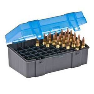 Plano Ammo Box 50 Rounds Medium Rifle Polymer Flip Top Blue