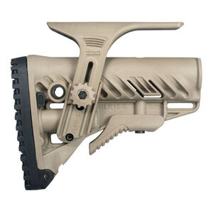 FAB Defense GLR-16 CP AR-15 Tactical Buttstock with Adjustable Cheek Rest FDE