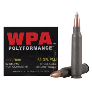 Wolf Performance .223 Remington Ammunition 20 Rounds 62 Grain Bi-Metal FMJ Steel Cased 3025 fps