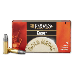 Federal Gold Medal Target .22LR Ammunition 50 Rounds 40 Grain Lead Round Nose 1080 fps