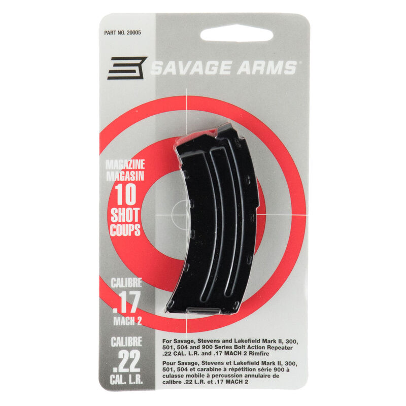 Savage Arms Mark II Series Magazine .22 Long Rifle/.17 Hornady Mach 2 (HM2) 10 Rounds Steel Body Black Finish