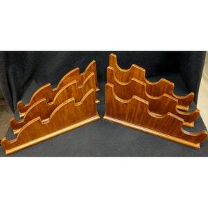 "Custom, Handmade Universal Wooden Two Piece Rack Holds Three Rifles, Shotguns, or Swords 1"" Wide Base"