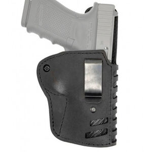 """Versacarry Compound Series Holster IWB Size 1 Most Double Stacked Sub Compacts with a 3.5"""" Barrel Right Hand Leather Black"""
