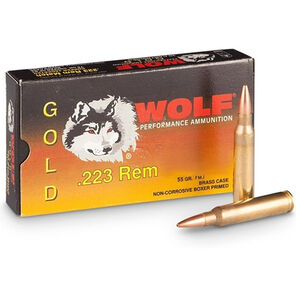 Wolf Gold .223 Remington Ammunition 1000 Rounds 55 Grain Full Metal Jacket 3240fps