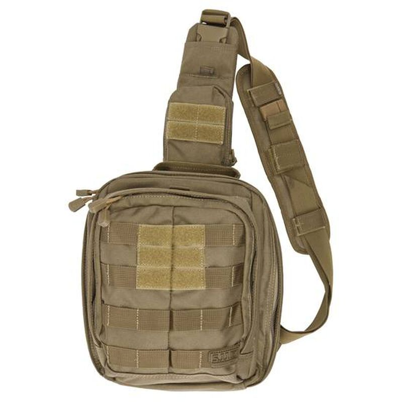 "5.11 Tactical RUSH MOAB 6 Sling Pack Ambidextrous 11L Main Compartment 10.5""x9"" x5"" 1050D Nylon Sandstone"
