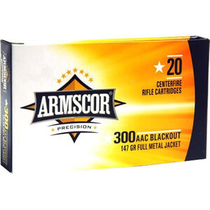 Armscor USA .300 Blackout Ammunition 20 Rounds FMJ 147 Grains AC300AAC-1N