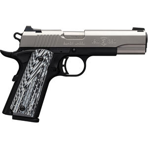 """Browning 1911-380 Black Label Pro .380 ACP Semi Auto Pistol 4.25"""" Barrel 8 Rounds Night Sights G10 Grips Steel Slide Polymer Frame Two Tone Stainless/Black Finish"""