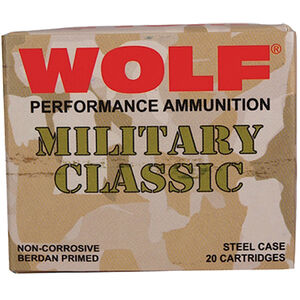 Wolf Military Classic .30-06 Spring Ammunition 500 Rounds 168 Grain Bi-Metal FMJ 2575fps