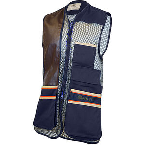 Beretta USA Two-Tone Vest 2.0 Cotton and Mesh Panels Faux Leather Shooting Patch X-Large Blue