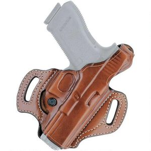 Aker Leather 168 FlatSider XR12 Belt Slide Holster GLOCK 26/27/33 Left Hand Leather Plain Tan