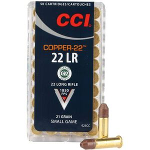 CCI Copper-22 .22LR Ammunition 21 Grain Non-lead Hollow Point 1850 fps