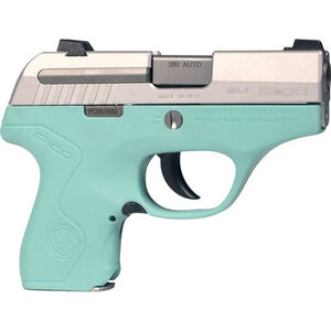 "Beretta Pico .380 ACP Semi-Auto Pistol, 2.7"" Barrel, 6 Rounds, Robin's Egg Blue Polymer Frame, Inox Stainless Steel Slide"
