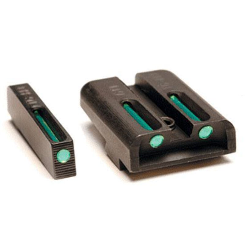 TruGlo TFX Standard Height Kahr Arms Series Front/Rear Day/Night Sight Set Green Tritium 3-Dot Configuration Front White Focus Lock Ring Square Cut Rear Notch Steel Black