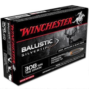 Winchester Ballistic Silvertip .308 Winchester Ammunition 168 Grain Polymer Tip 2670 fps