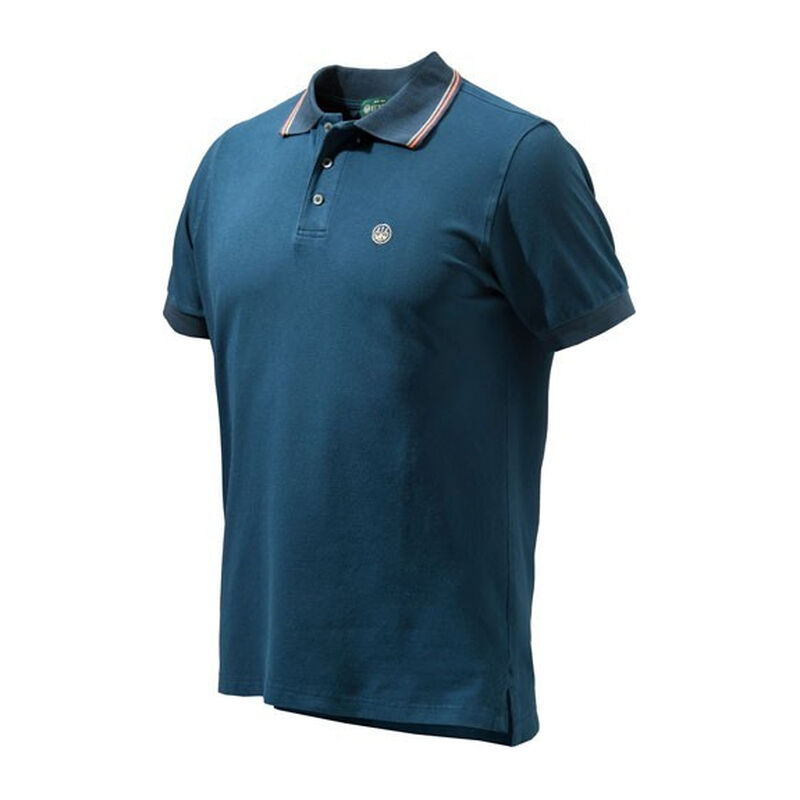Beretta Women's Culture Polo Short Sleeve Shirt Size Small Cotton Blue