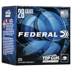 "Federal Top Gun Sporting 28 Gauge Ammunition 2-3/4"" Shell #8 Lead Shot 3/4oz 1330 fps"