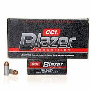 CCI Blazer .380 ACP Ammunition 50 Rounds FMJ 95 Grains 3505
