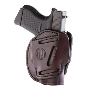 1791 Gunleather 3WH-2 3 Way Multi-Fit OWB Concealment Holster for Subcompact Slim Models Ambidextrous Draw Leather Signature Brown