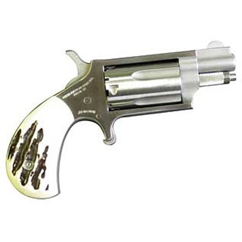 """NAA Mini Revolver Revolver .22 Magnum 1.125"""" Barrel 5 Rounds Steel Stainless Imitation Stag Grips"""