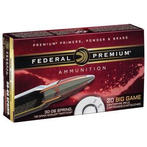 Federal Premium .30-06 Springfield Ammunition 20 Rounds Nosler Partition SP 180 Grains P3006F