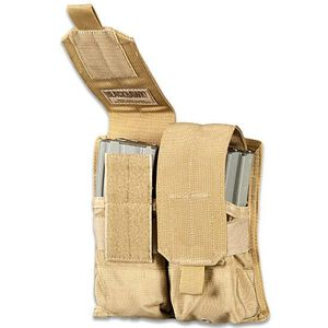 BLACKHAWK! S.T.R.I.K.E. M4 Double Mag Pouch, Holds Four AR-15 M-4 30 Round Magazines, MOLLE Compatible, Coyote Tan