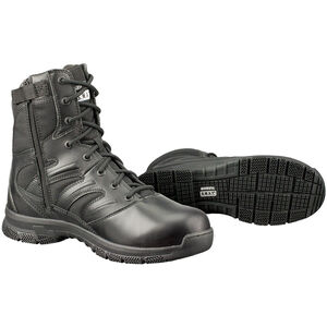 "Original S.W.A.T. Force 8"" Side-Zip Men's Boot Size 12 Regular Thermoplastic Heel and Toe Non-Marking Sole Leather/Nylon Black 152001-12"