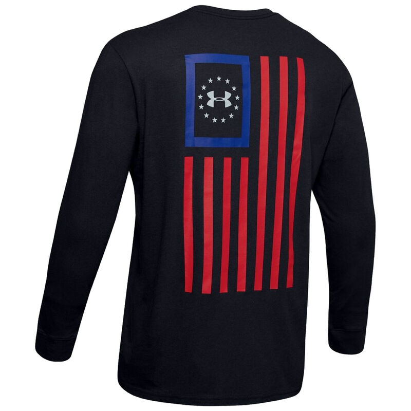 Under Armour Men's Freedom New Flag Long Sleeve Shirt Small Cotton Blend Black