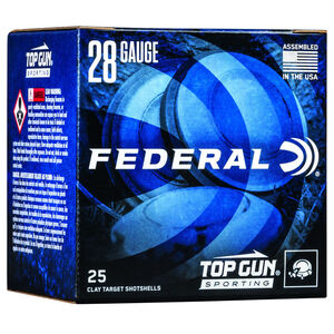 "Federal Top Gun Sporting 28 Gauge Ammunition 2-3/4"" Shell #9 Lead Shot 3/4oz 1330 fps"