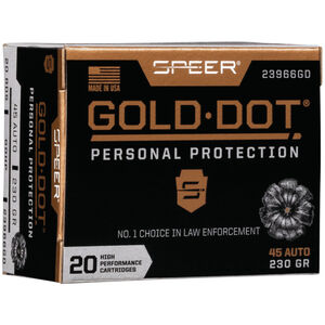 Speer Gold Dot Personal Protection .45 ACP Ammunition 20 Rounds 230 Grain GDHP 890fps